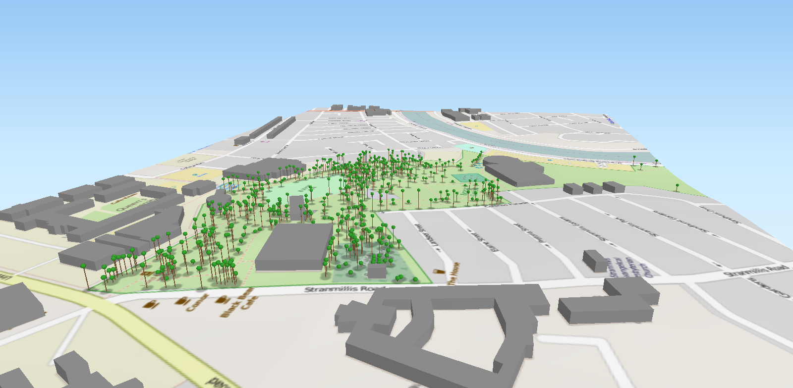 3D Open Source Visualisation of Trees in Botanic Gardens  with Tree  Height  created by Lorraine Barry, GIS, Queen's University Belfast.