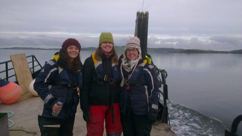 Emma Gorman, Rebecca McQuillan and Karen Mooney-McAuley during kelp deployment