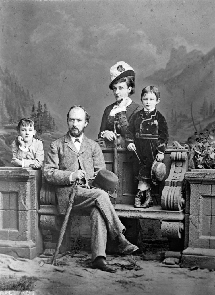 Hart with his Irish wife Hester (Hessie), née Bredon, and his two elder children with her, Evelyn and Edgar Bruce, c. 1878. MS 15/6/1/C1.